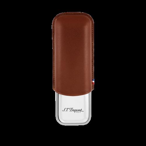Metal Base Double Cigar Case Brown