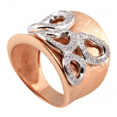 3D Diamond Hearts Ring