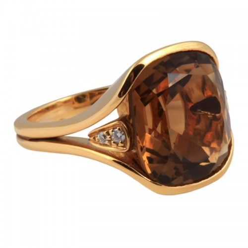 Citrine & Diamonds Ring