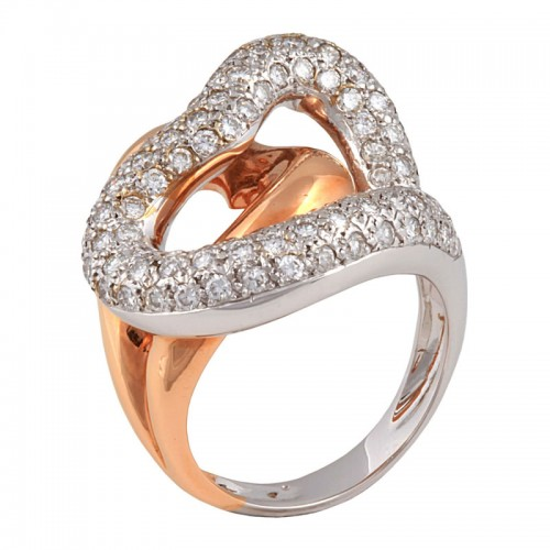 Diamond Hugging Hearts Ring