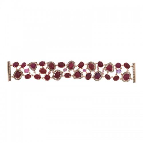 Diamond, Sapphire & Tourmaline Bracelet