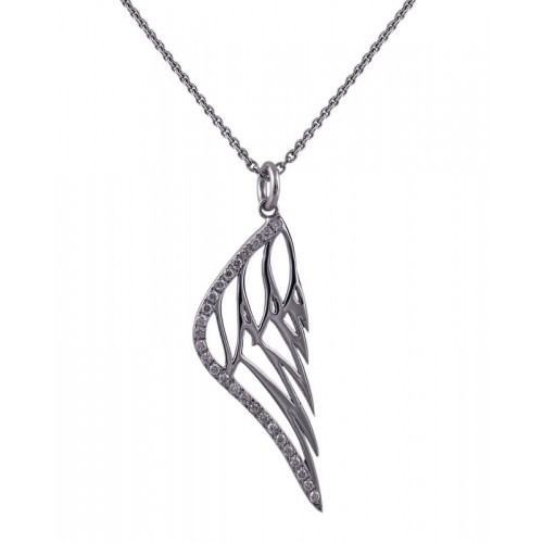 Diamond Angel Feather Pendant