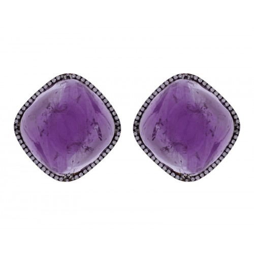 Amethyst & Diamond Rhombus Earrings