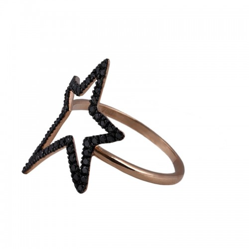 Black Diamond Star Ring