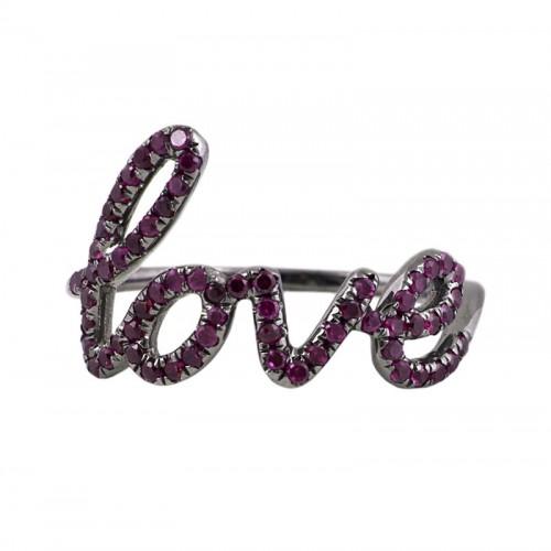 """""""Love"""" Ruby Ring"""
