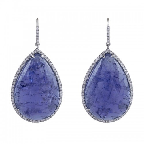 Tanzanite & Diamond Hook Earings