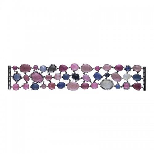 Ruby, Sapphire & Diamond Wide Bracelet