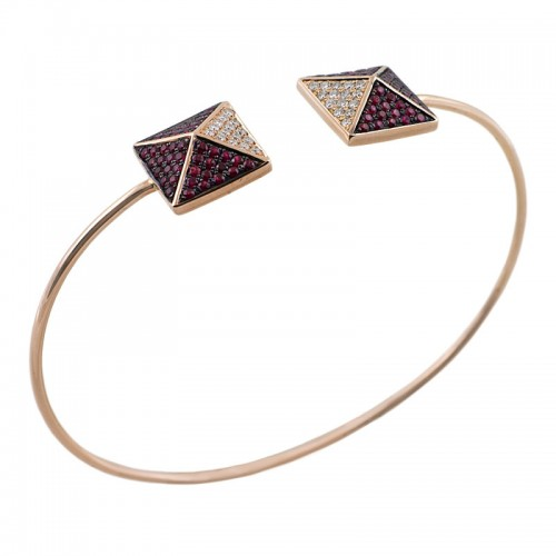 Ruby & Diamond Rose Gold Pyramid Bangle