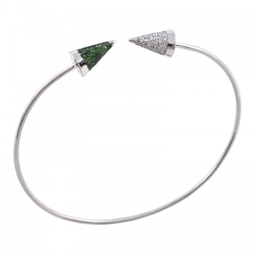 Tsavorite & Diamond Gold Cone Bangle