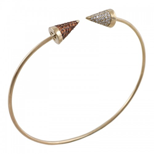 Sapphire & Diamond Gold Cone Bangle
