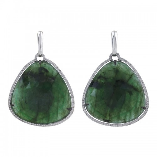 Emerald & Diamond Long Earrings