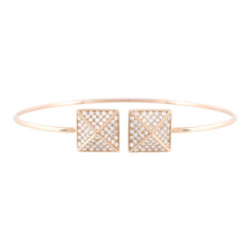 Gold Pyramid Bracelet with Diamonds