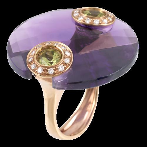 Amethyst and Peridots Ring