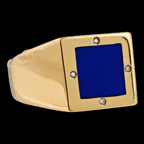 Blue Lapis & Diamonds Gold Ring