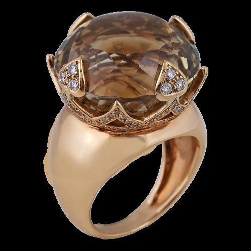 Quartz & Diamonds Ring