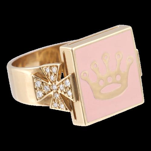 Pink Enamel Ring