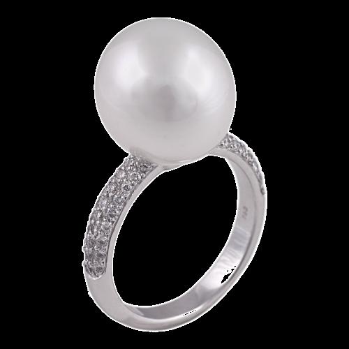 Pearl & Diamond Pavé Ring