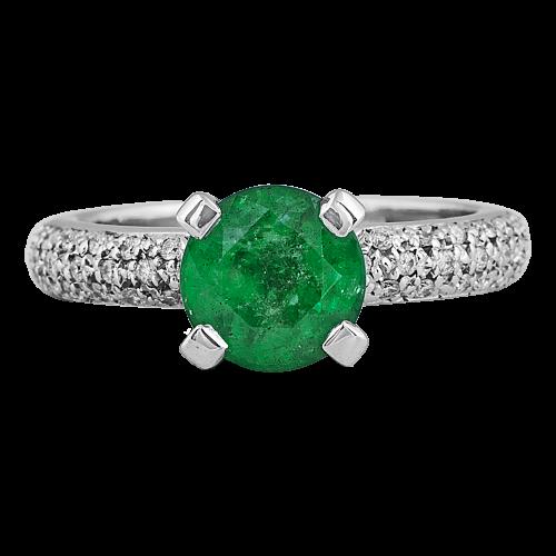 Emerald & Diamonds Pavé Ring