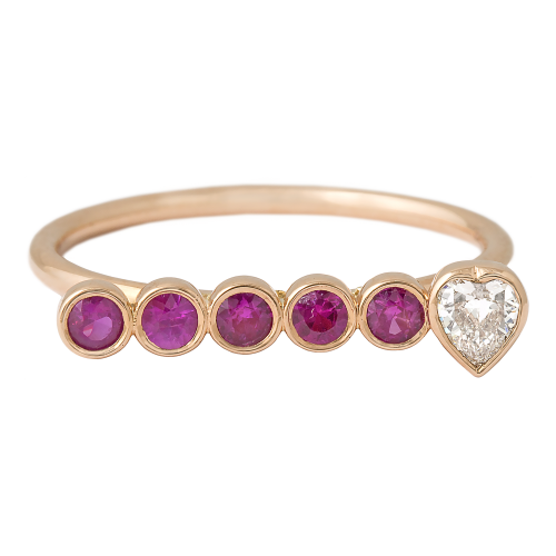 Diamond & Pink Sapphires bar Ring