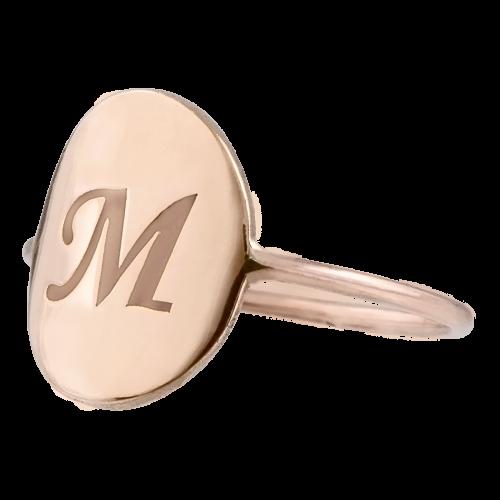 Pinky Monogram Gold Ring