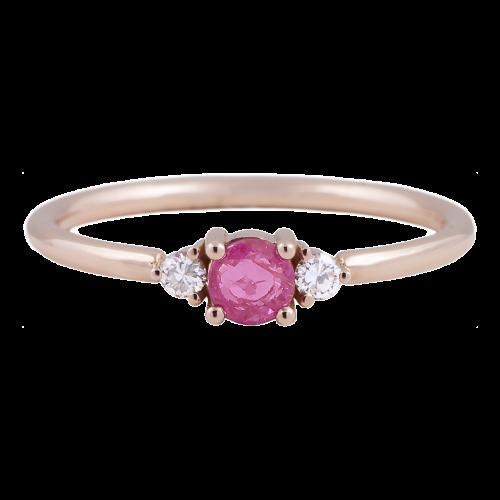 Pink Sapphire & Diamonds Ring