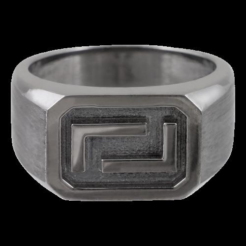 Greek Meander Silver Ring