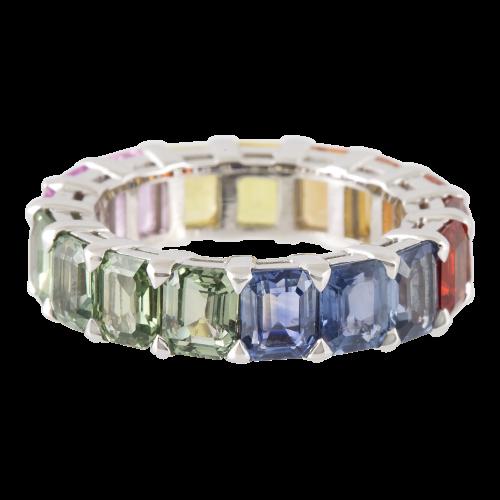 Rainbow Sapphire Eternity Ring