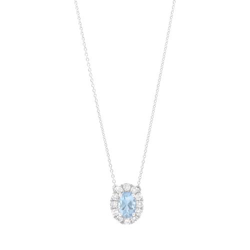 Aquamarine & Diamonds Pendant