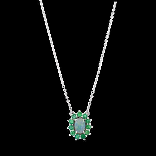 Opal & Emeralds Pendant