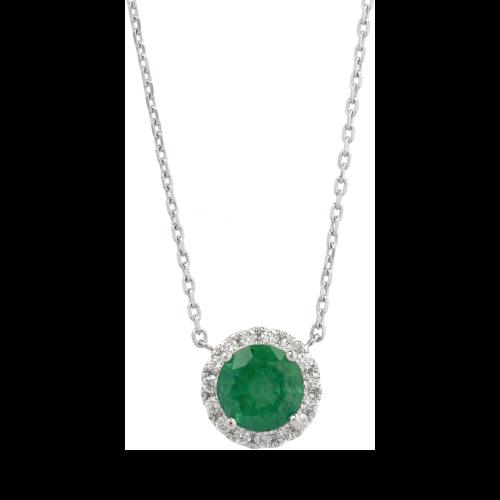 Halo Emerald Pendant