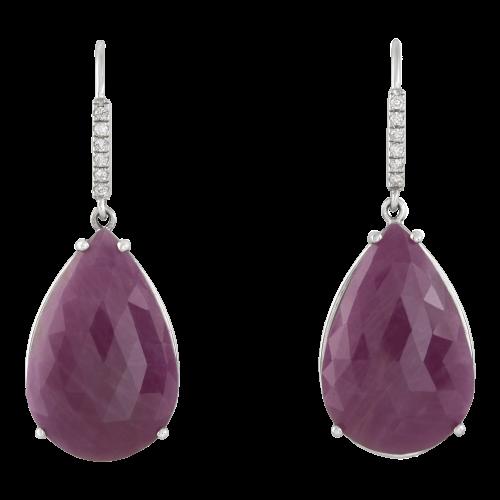 Ruby & Diamond Hook Earrings