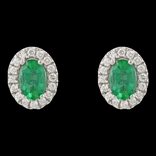 Halo Emerald Studs
