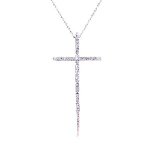 White Gold Cross with Diamond links